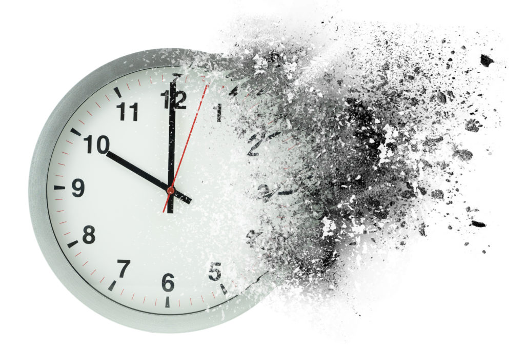Clock disintegrating - Time is precious during a cyber security interview