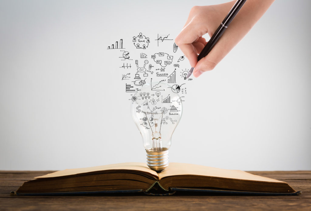 Light bulb reflecting ideas and notes